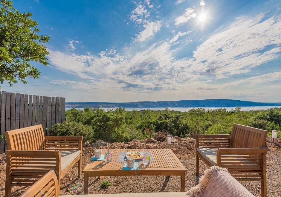 Villa Vicka mit Panoramablick auf der Insel Rab